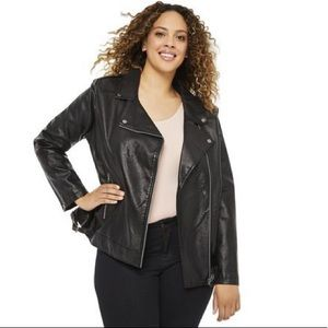 George Faux Leather Motorcycle Jacket in Black